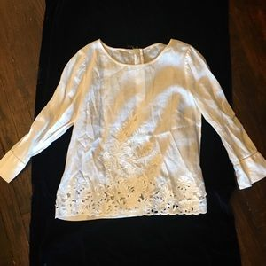 Linen Lace Long Sleeved Top